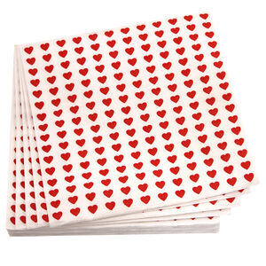 Hearts Napkins 20 Pack - Red
