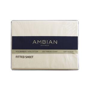 SINGLE FITTED SHEET 300Tc Bamboo/Ctn Cream