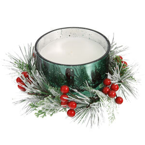 Green Wreath Centrepiece Candle