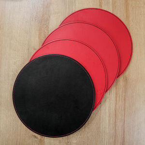 Reversible Round Placemats - Black & Red