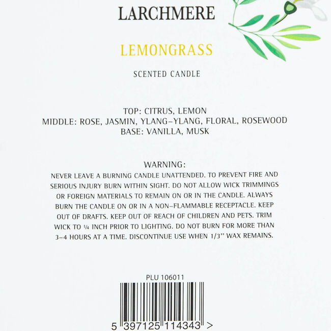 Larchmere Lemongrass Scented Candle