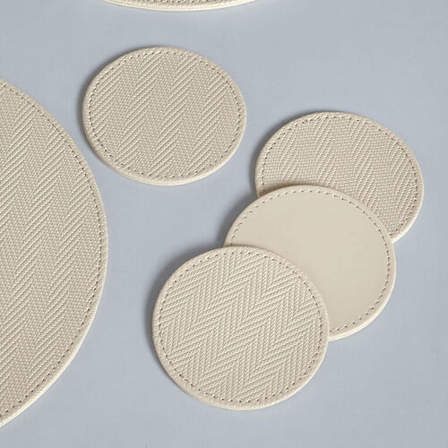 Reversible Round Herringbone Coasters - Cream
