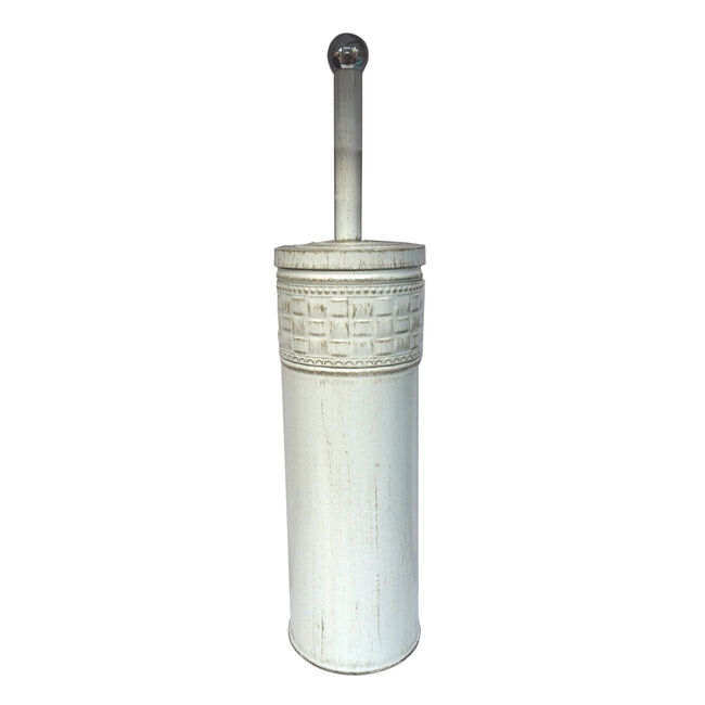Aged White Mosaic Toilet Brush Holder