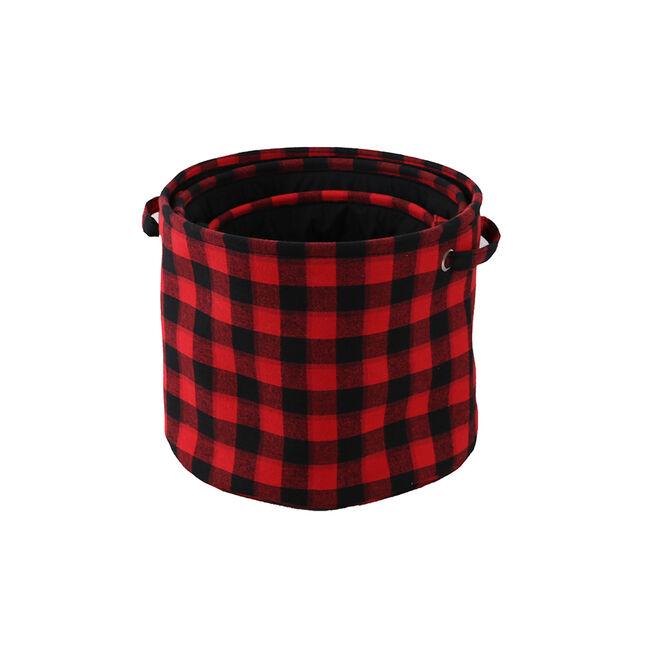 Red Tartan Storage Baskets Set of Three