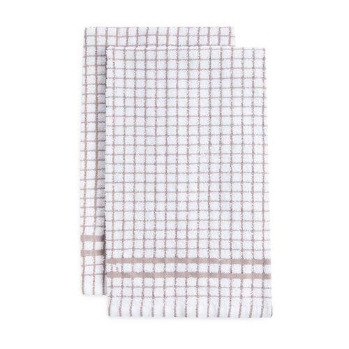 Mono Check Tea Towels 2 Pack - Natural