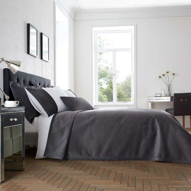 Ribeiro Velvet Bedspread Grey 200 x 220cm