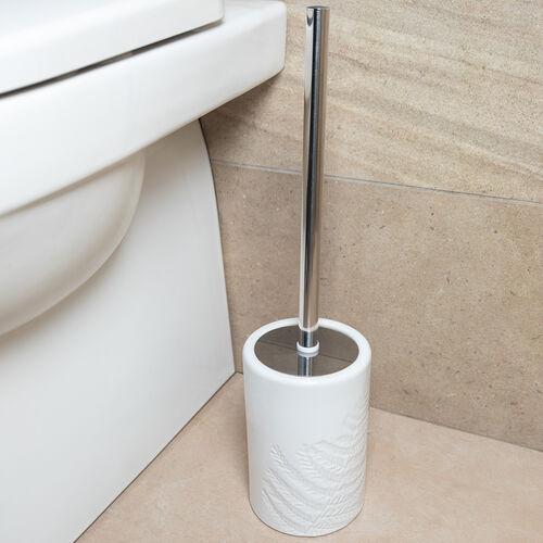 Embossed Leaf Toilet Brush - White