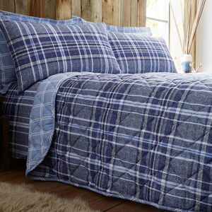 Brushed Cotton Hughes Check Bedspread