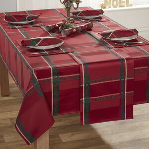 Plaid Damask Red Table Cloth