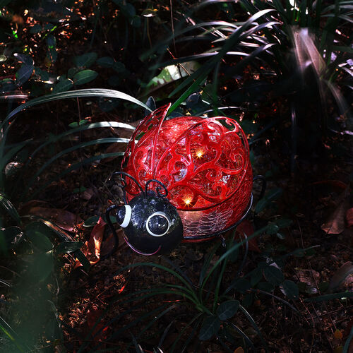 Crackle Ball Ladybird Solar Light