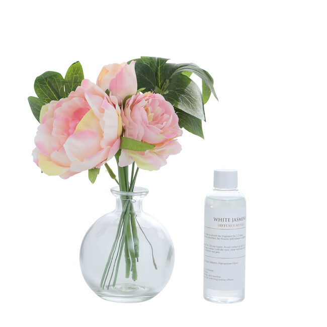 White Jasmine Pink Floral Reed Diffuser