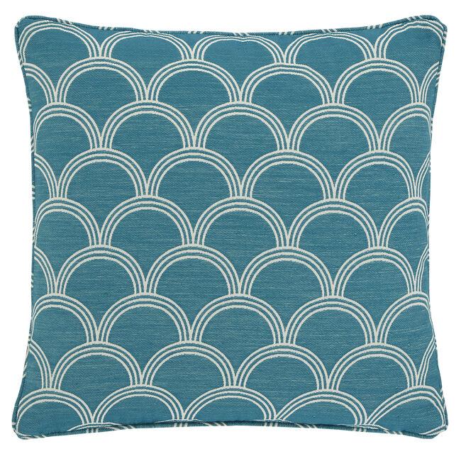 Geo Jacquard Cushion 45x45cm - Teal