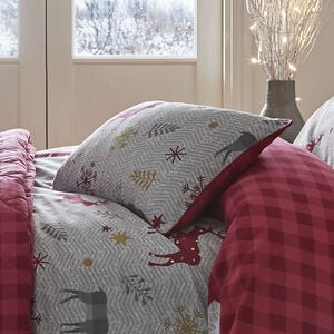 Herringbone Stag Berry Cushion 30cm x 50cm