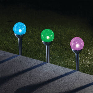 Crackle Ball Post Solar Light