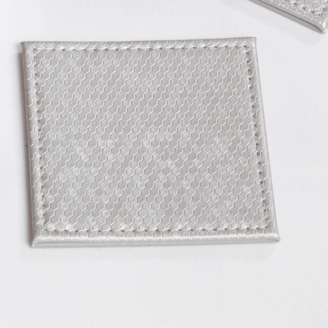 Honeycomb Square Coasters Pack of 4 - Silver