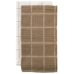 Check Kitchen Tea Towel 2 Pack Mocha