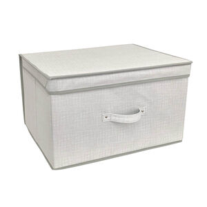 Linen Look Foldable Storage Chest - Natural
