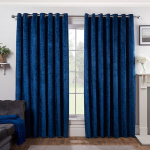 BLACKOUT&THERMAL CRUSHED VELVET NAVY 66x72 Curtain