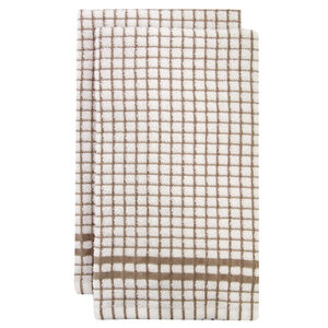Mono Check Natural Tea Towels 2 Pack