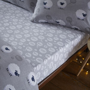 BRUSHED COTTON SHEEP GREY Super King Fitted Sheet
