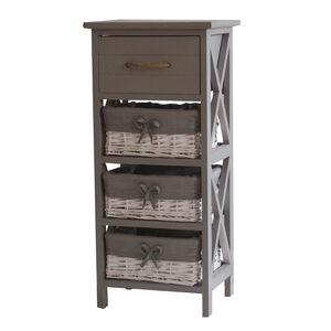 Country Cross Drawer & 3 Basket Storage Unit -Grey