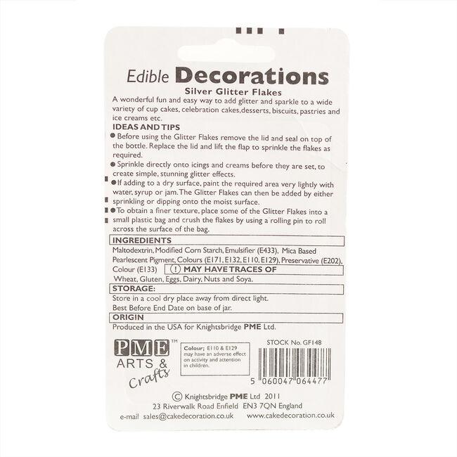 PME Edible Glitter Flakes 7.1g - Silver
