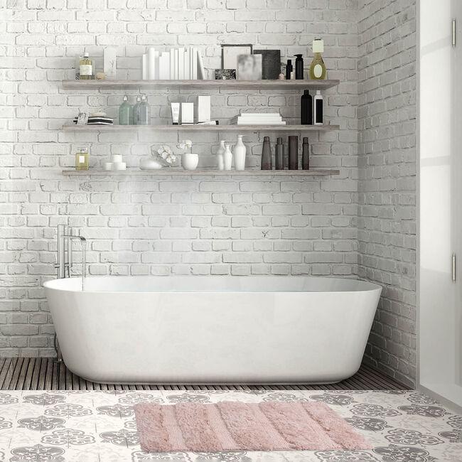 Feather Stripe Bath Mat 50 x 80cm - Natural