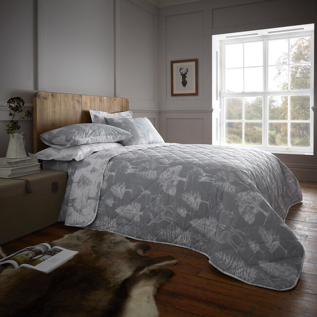 Stag Toile Bedspread 200 x 220cm - Grey