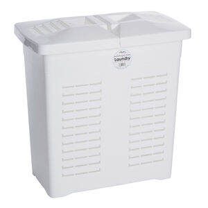 Double Lid Hamper White