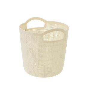 Hessian Cream Round Storage Basket 2.5L