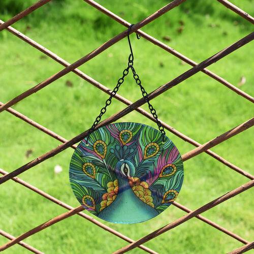 Hanging Glass Peacock Garden Wall Art