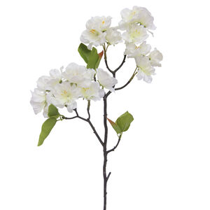 Cherry Blossom Branch with Foliage Cream 47cm