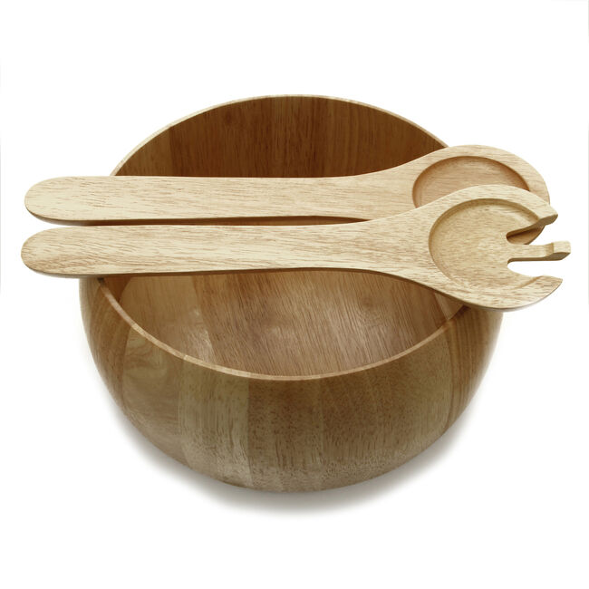 Rubberwood Salad Bowl & Servers
