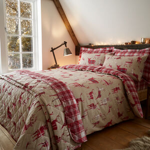 SINGLE DUVET COVER Brushed Cotton Plaid Stag