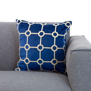Embroidered Stitch Navy Cushion 45x55cm