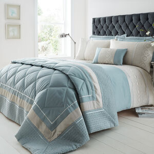 DOUBLE DUVET COVER Luxury Geo Duck Egg