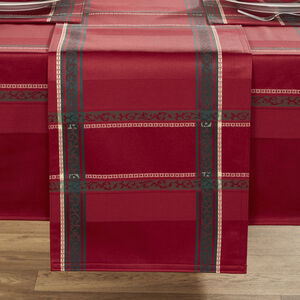 Plaid Damask Red Table Runner 229cm x 36cm