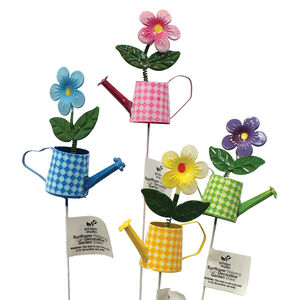 Sunflower Watering Can Garden Stake