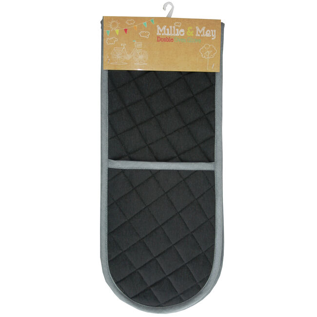 Two Tone Double Oven Glove Black/Grey