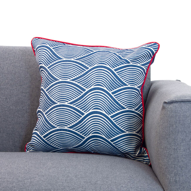 Waves Cushion 45x45cm - Navy/Red