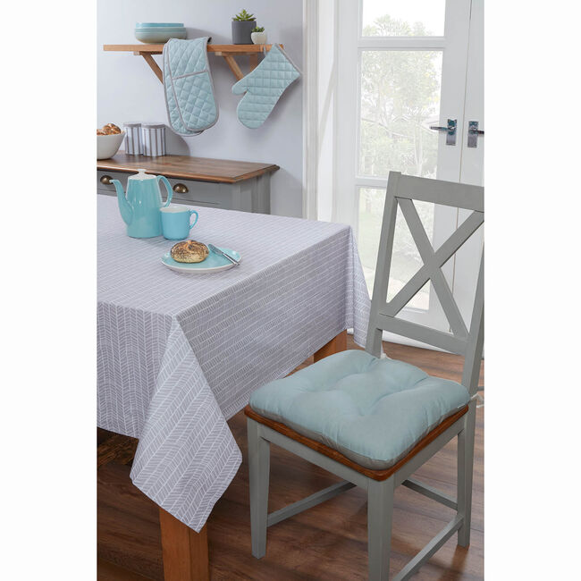 Two Tone Kitchen Seat Pad - Duck Egg/Grey