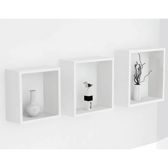 Bergen White 3 Set Cube Floating Wall Shelf Set