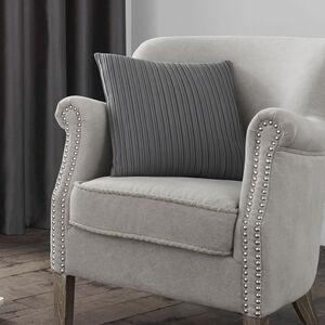 Velvet Pleat Charcoal Cushion 40cm x 40cm