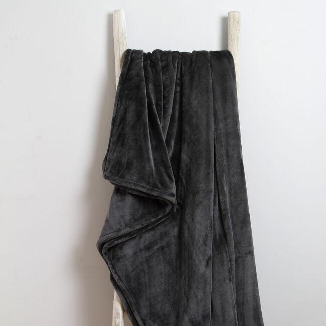 Ruane Plush Velvet Throw Charcoal