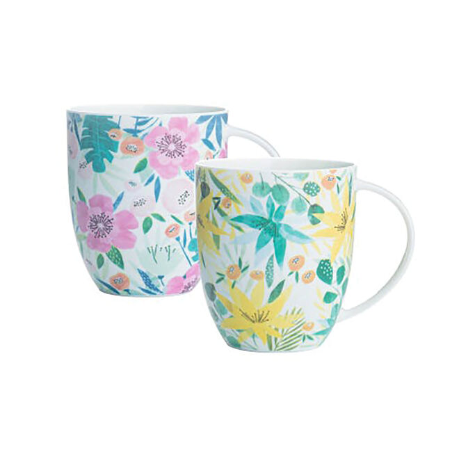 Tropical Floral Bone China Mug