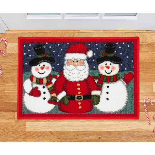 Santa and Snowman Red Doormat
