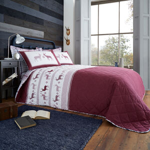 Brushed Cotton Fairisle Stag Bedspread 200 x 220cm