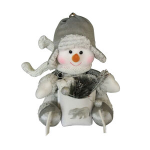 "9"" Sitting Snowman With Gift"