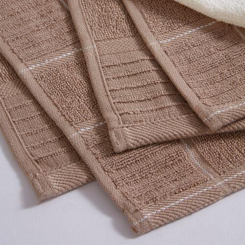Check Kitchen Tea Towel 2 Pack - Mocha