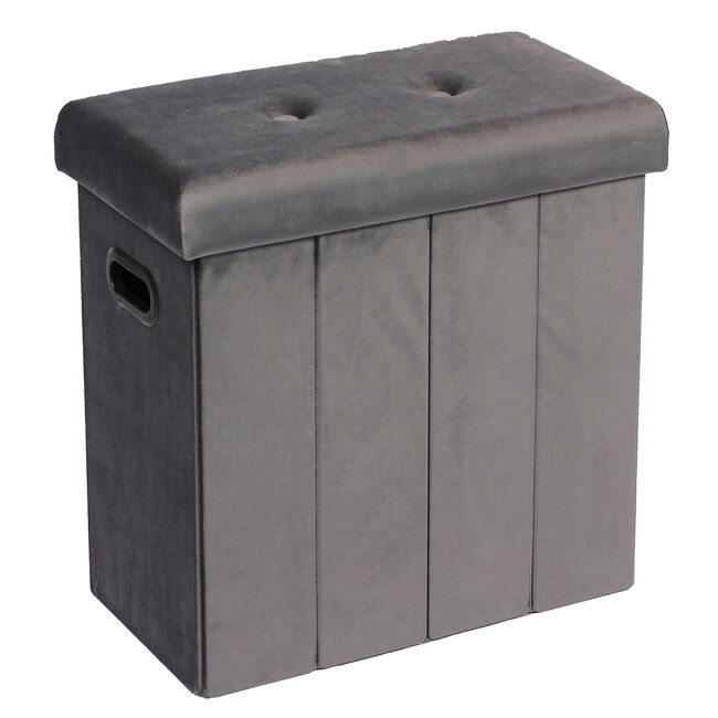 Folding Slim Storage Ottoman - Grey